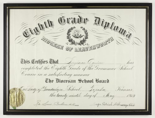 Graduation diploma for Luziana Aguire from Our Lady of Guadalupe, Topeka, Kansas - Page