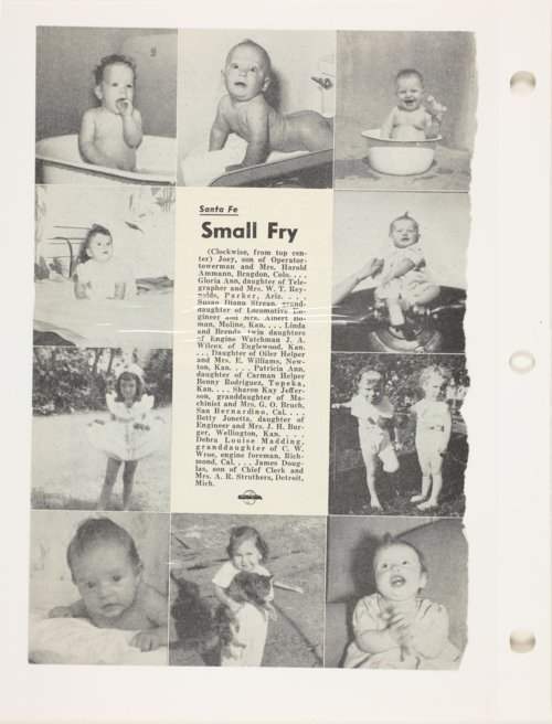 Santa Fe magazine clipping showing toddlers - Page