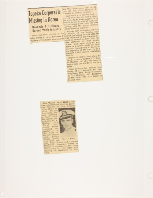 Clippings of WWII and Korean War soldiers - Page