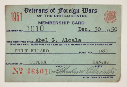 Abel Alcala's VFW Membership Card - Page