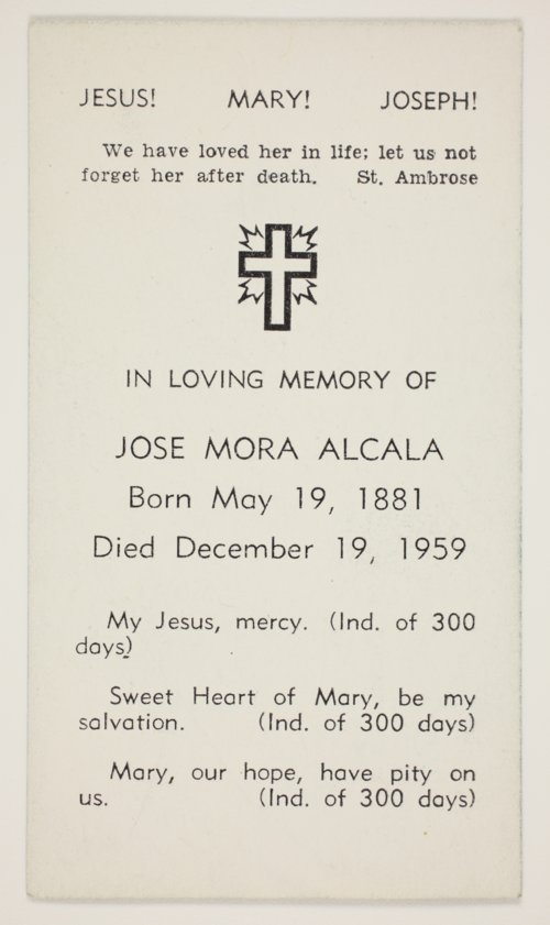 Funeral card for Jose Mora Alcala, Topeka, Kansas - Page