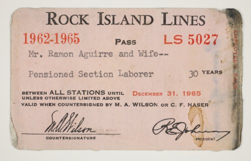 Ramon Aguirre's Chicago, Rock Island & Pacific Railroad pass - Page