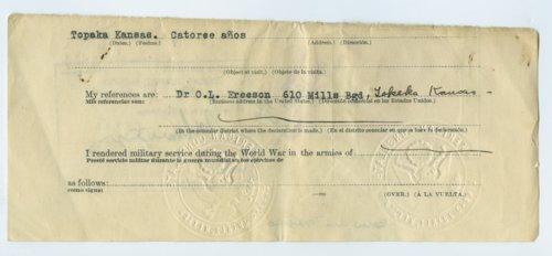 Juan and Atanacio Corona's passport - Page