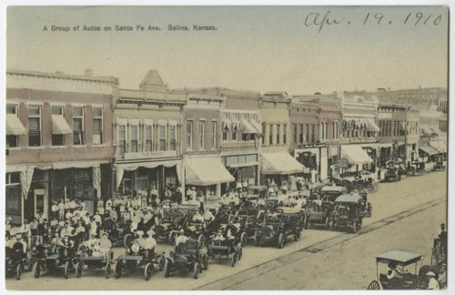 Group of autos on Santa Fe Avenue, Salina, Kansas - Page