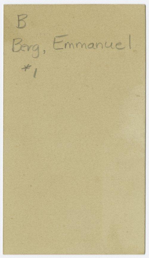 Emmanuel Berg calling card, McPherson, Kansas - Page