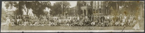 Students posed in front of Atchison Community High School in Effingham, Kansas - Page