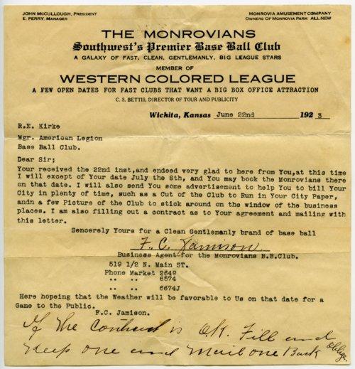 Wichita Monrovians baseball correspondence - Page