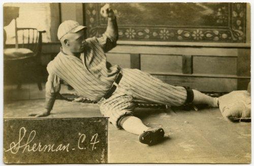 Baseball player in sliding pose, Newton, Kansas - Page