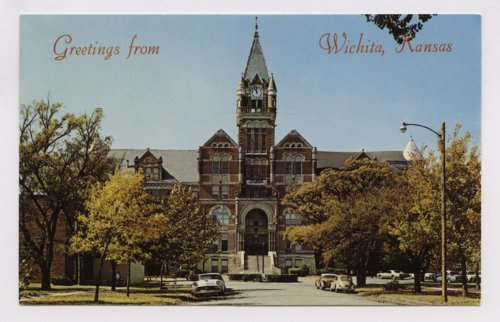 Postcard, Davis Hall, Friends University, Wichita, Kansas