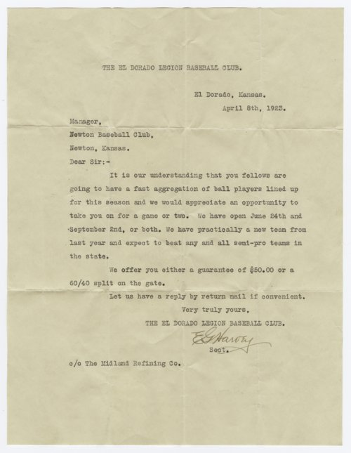 El Dorado baseball team correspondence - Page