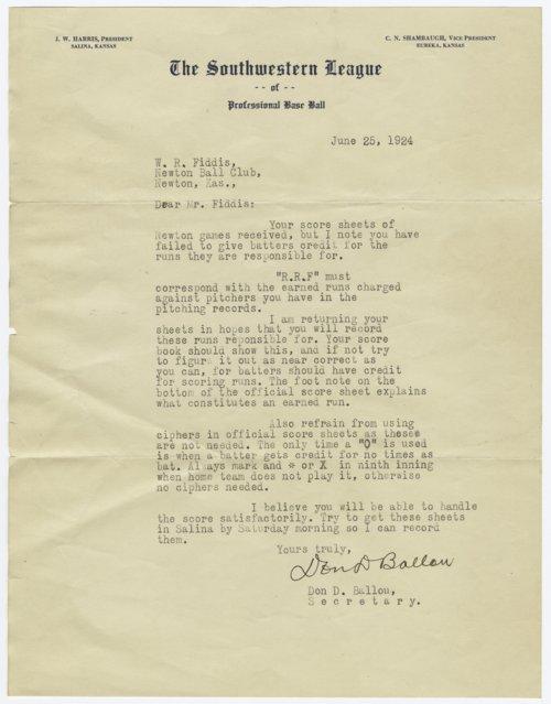 Southwestern League baseball correspondence, Salina, Kansas - Page