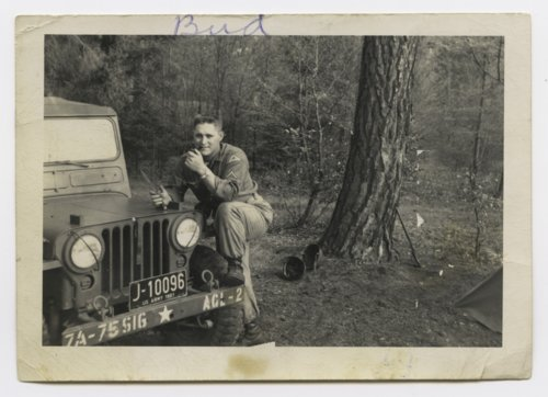 Paul H. Meadows with a military Jeep in Germany - Page