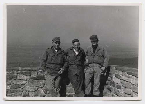U. S. Army soldiers on top of a tower near Baden Baden in Germany - Page