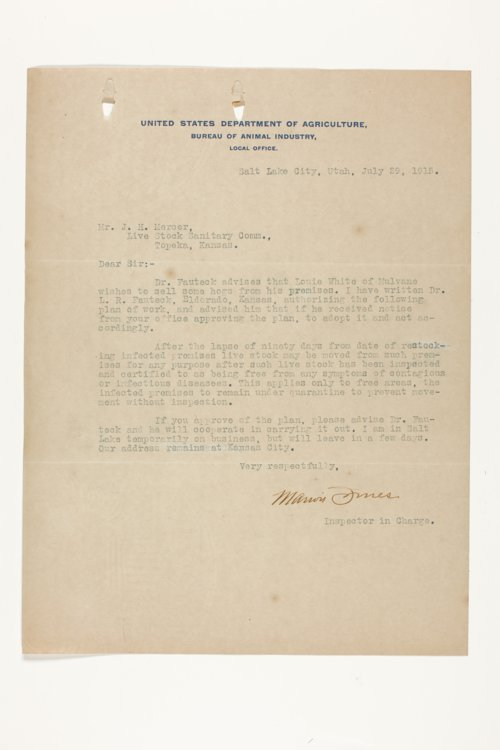 Livestock Sanitary Commissioner's Office, correspondence, 1915-1919 - Page