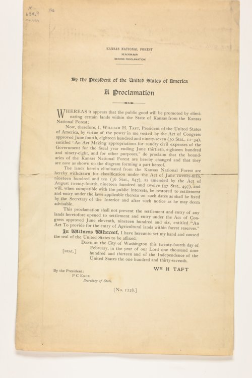 By the President of the United States, a proclamation: whereas it appears that the public good will be promoted by eliminating certain lands within the State of Kansas from the Kansas National Forest - Page