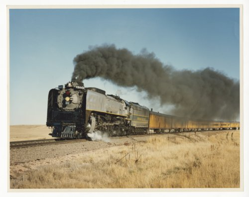Union Pacific Railroad locomotive #8444 pulling a passenger train - Page