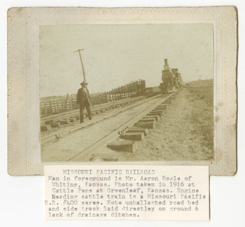 Missouri Pacific Railroad's steam locomotive at the cattle pens near Greenleaf, Kansas - Page