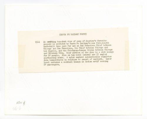 Atchison, Topeka and Santa Fe Railway Company's dome car - Page