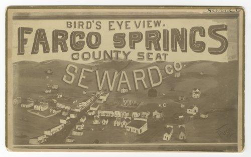 Bird's eye view drawing of Fargo Springs, Kansas - Page