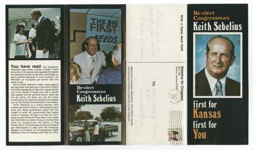 Campaign brochure for Congressman Keith Sebelius - Page