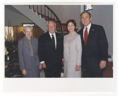 Nancy Landon Kassebaum Baker, Ambassador Howard Baker, Laura Bush and President George Bush - Page