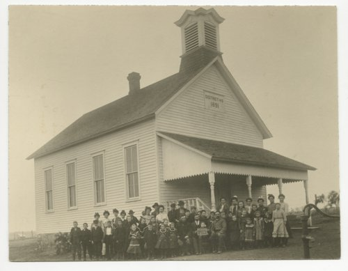Students posed outside of their school, District #49 in Miami County, Kansas - Page