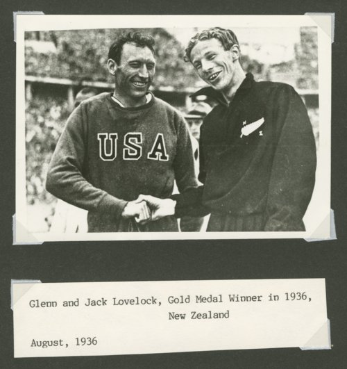 Glenn Cunningham shaking Jack Lovelock's hand at the 1936 Olympic Games - Page