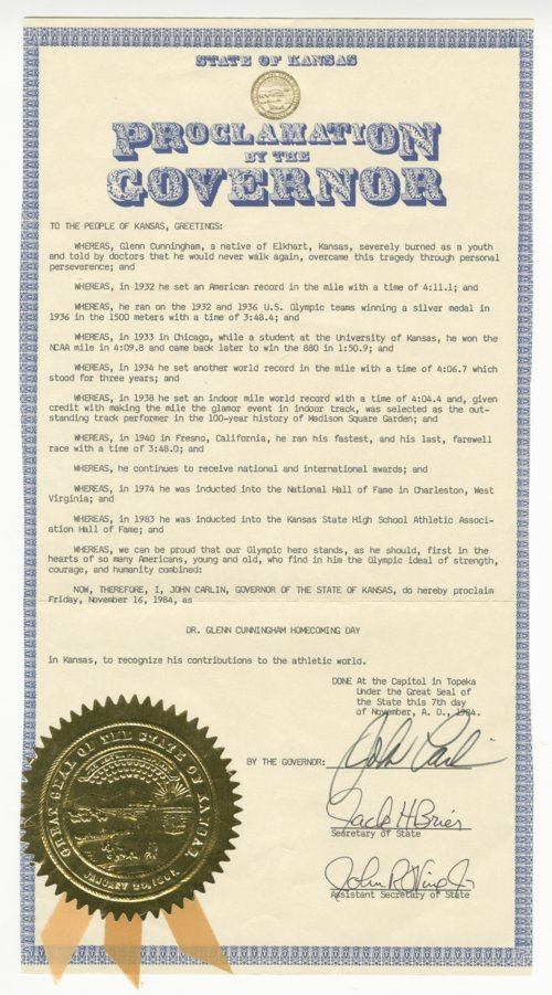 Proclamation of the Governor for Dr. Glenn Cunningham Homecoming Day - Page