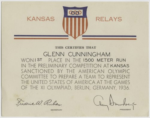 Kansas Relays certificate for Glenn Cunningham - Page