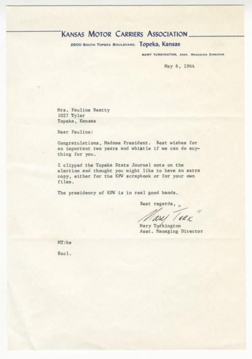 Mary Turkington to Pauline Beatty - Page