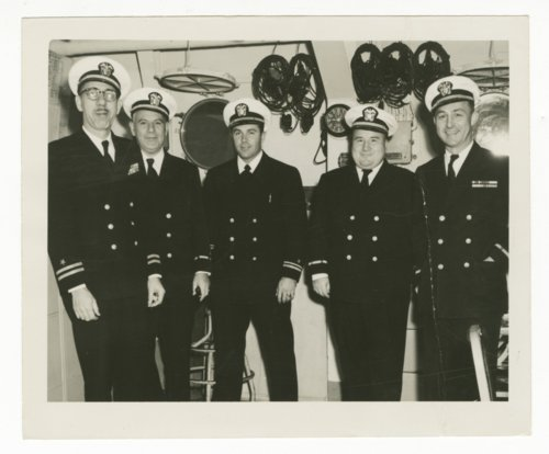 Sharitt Edward Baker with fellow officers on the U.S.S. Salisbury Sound - Page