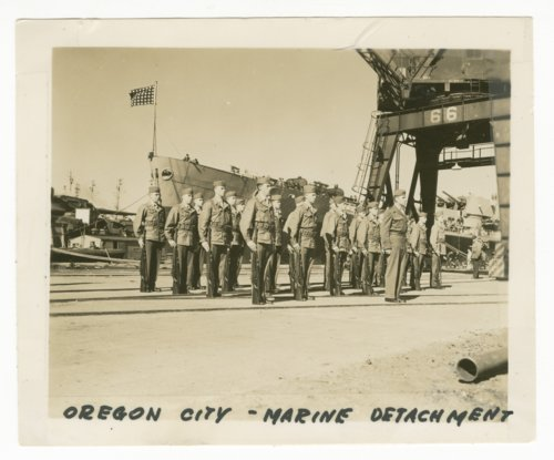 Marine detachment near the U.S.S. Oregon City - Page
