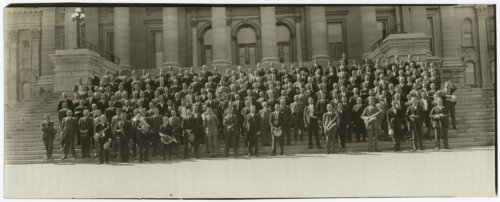 Group of men and boys on the Kansas capitol steps in Topeka, Kansas - Page
