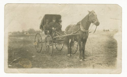 Three men in a horse drawn carriage - Page