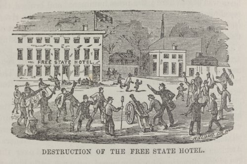 Proslavery forces readying to destroy the Free State Hotel in Lawrence, Kansas - Page