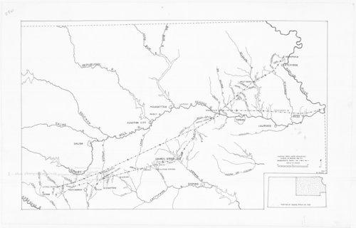 Map of Etienne Veniard de Bourgmont's expedition route through central Kansas - Page
