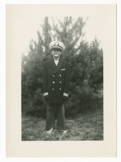 Frank Elliott, Jr. dressed in a Navy uniform near Hope, Kansas - Page