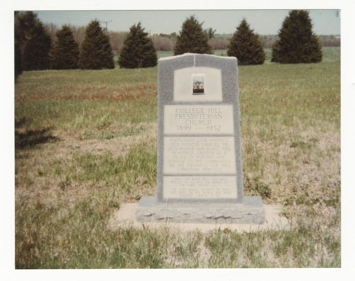 Monument to the College Hill Presbyterian Church in Dickinson County, Kansas - Page