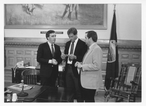 George Brett and Dick Howser of the Kansas City Royals visiting Governor John Carlin - Page