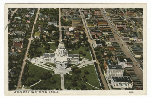 Aerial view of the state capitol and downtown area in Topeka, Kansas - Page