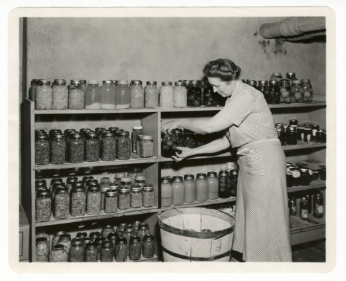 Mrs. Andrew Schoeppel placing canned items on a shelf in the Kansas Governor's mansion in Topeka, Kansas - Page