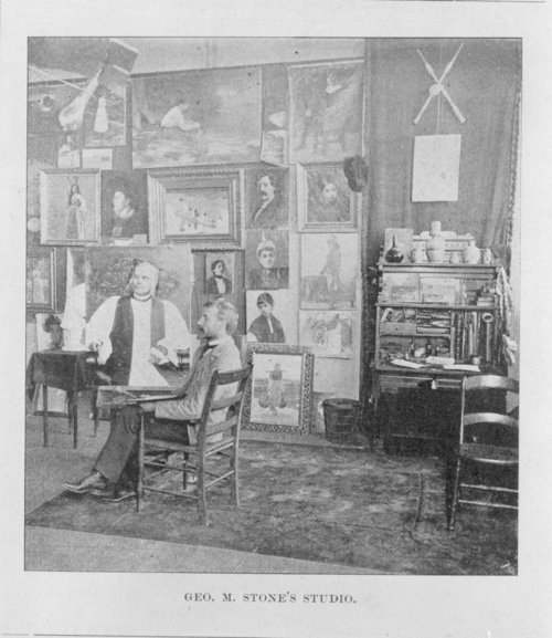 George Melville Stone working in his studio - Page