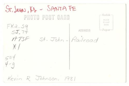 Atchison, Topeka and Santa Fe Railway Company depot, St. John, Kansas - Page