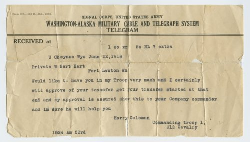 Military telegram regarding Bert Hart of Westmoreland - Page