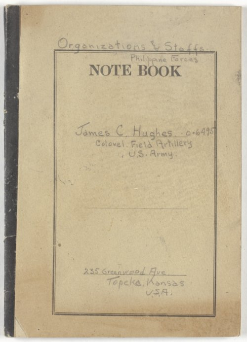 Notebook belonging to Colonel James C. Hughes - Page