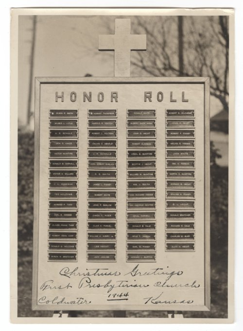 World War II honor roll at the First Presbyterian Church in Coldwater, Kansas - Page