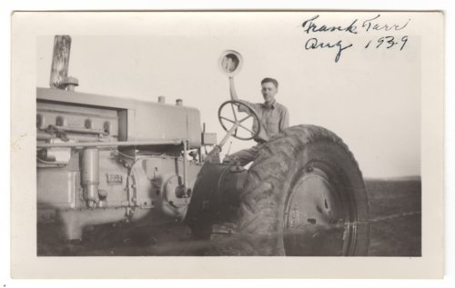 Oliver Frank Tarr on a tractor in Comanche County, Kansas - Page