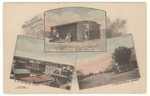 Postcard view of Syracuse, Hamilton County, Kansas scenes - Page