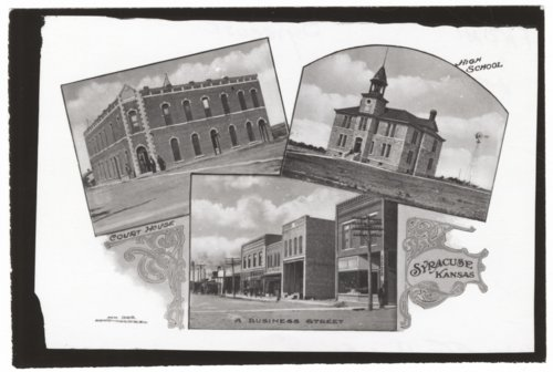 Postcard of three scenes in Syracuse, Hamilton County, Kansas - Page