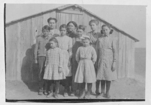 District 22 schoolhouse and students, Hamilton County, Kansas - Page